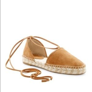 Frye 'Leo' Ankle Wrap Suede Espadrille Sandals